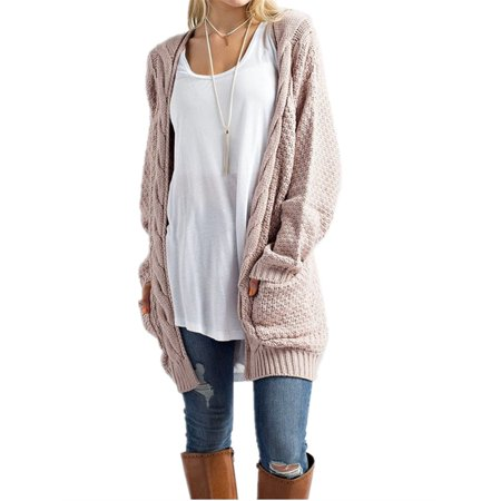 - Autumn Winter Open Front Women Long Sleeve Knit Cardigan with Pocket