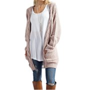 Autumn Winter Open Front Women Long Sleeve Knit Cardigan with Pocket