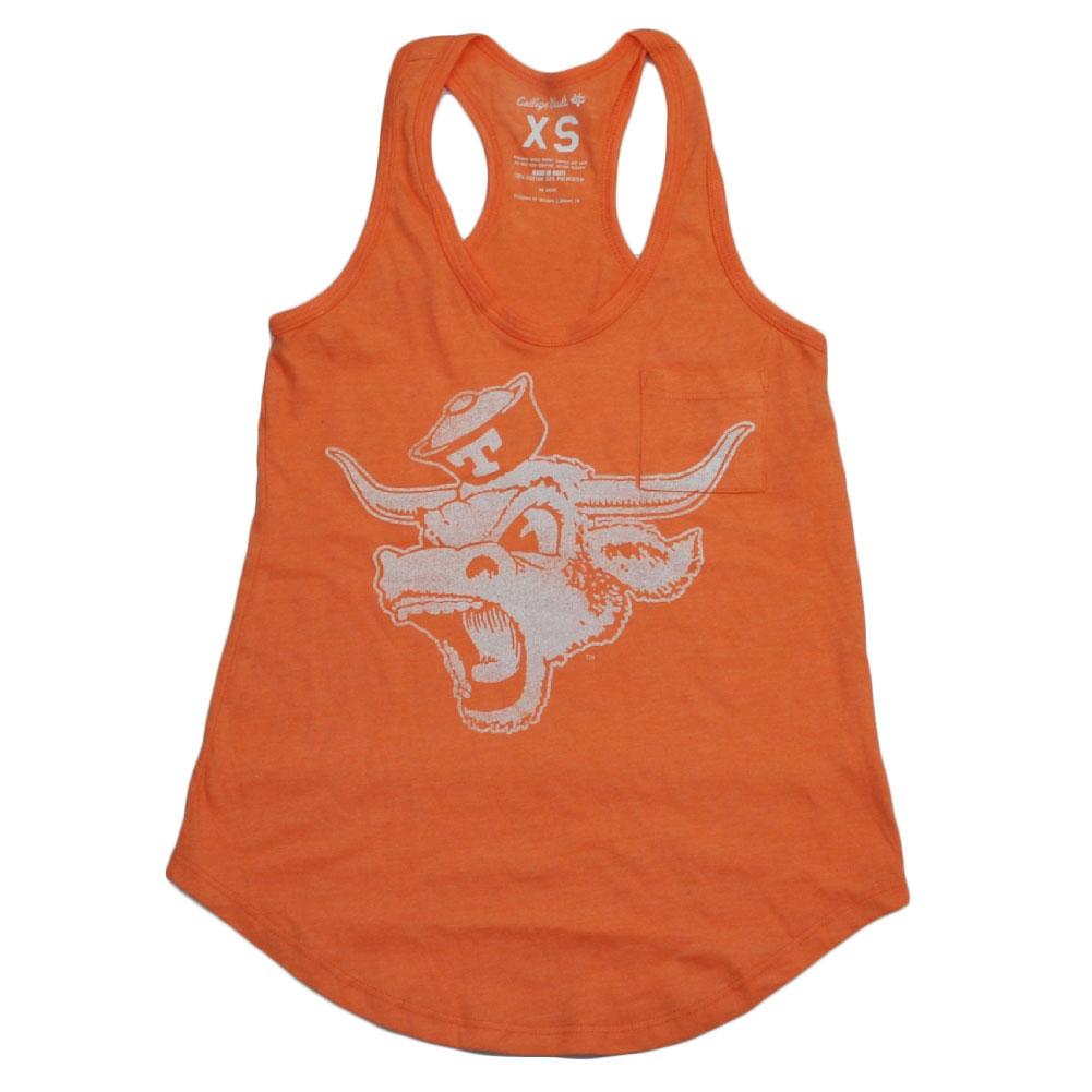 NCAA Texas Longhorns Distressed Racerback Tank Top Orange Womens Ladies Medium