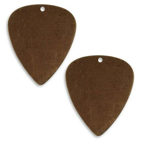 Vintaj Natural Brass Altered Blank Stamping Guitar Pick 31x26.5mm (2)