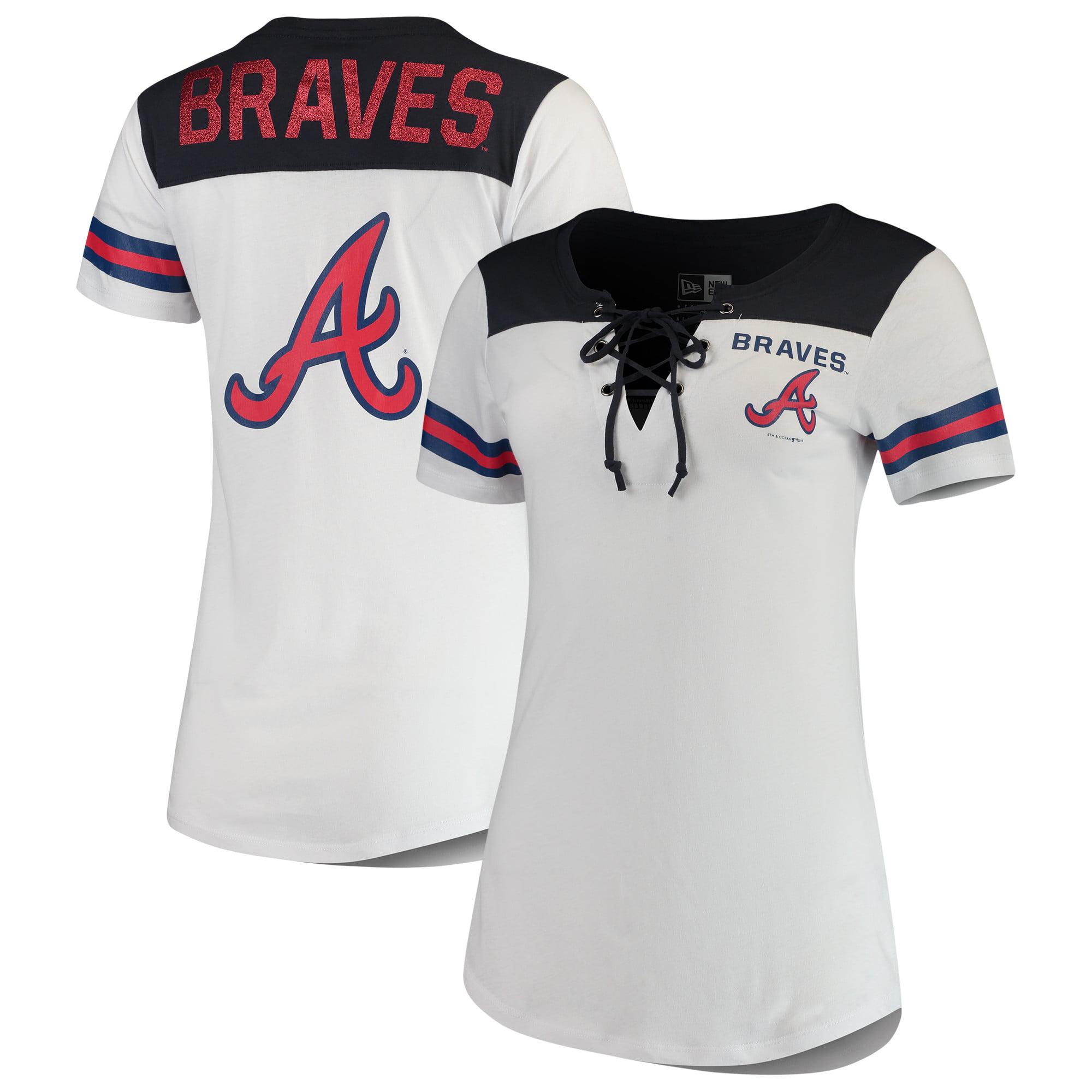 Atlanta Braves 5th & Ocean by New Era Women's Baby Jersey Lace-Up V-Neck T-Shirt - White/Navy
