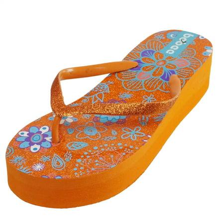 Summer Flower Sparkling Bling Wedge Platform Thong Flip Flops Slip On Beach Sandals Shoes