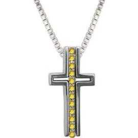 Necklace-Trinity Cross-Miracles-Light Topaz Crystals