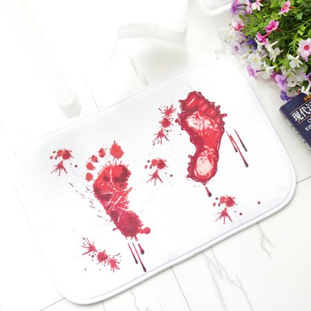 Blood Footprint Bath Mat Door Mat Scary Horror Style Halloween Decoration Hot (Halloween Doormat With Scary Sounds)