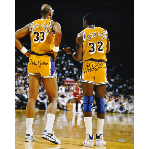 NBA - Kareem Abdul Jabbar and Magic Johnson Los Angeles Lakers Dual Autographed 16x20 Photograph