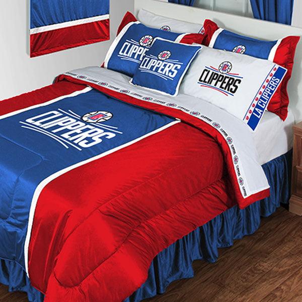 nba los angeles clippers bedding set basketball team logo comforter and sheet set walmart