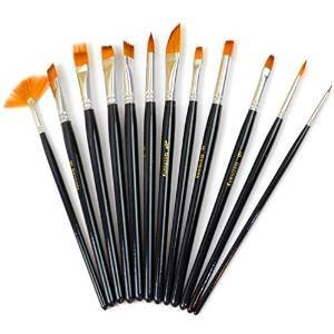 Paint Brush Set, FrontTech Round Pointed Tip Nylon Hair artist acrylic brush Watercolor Oil Painting (black