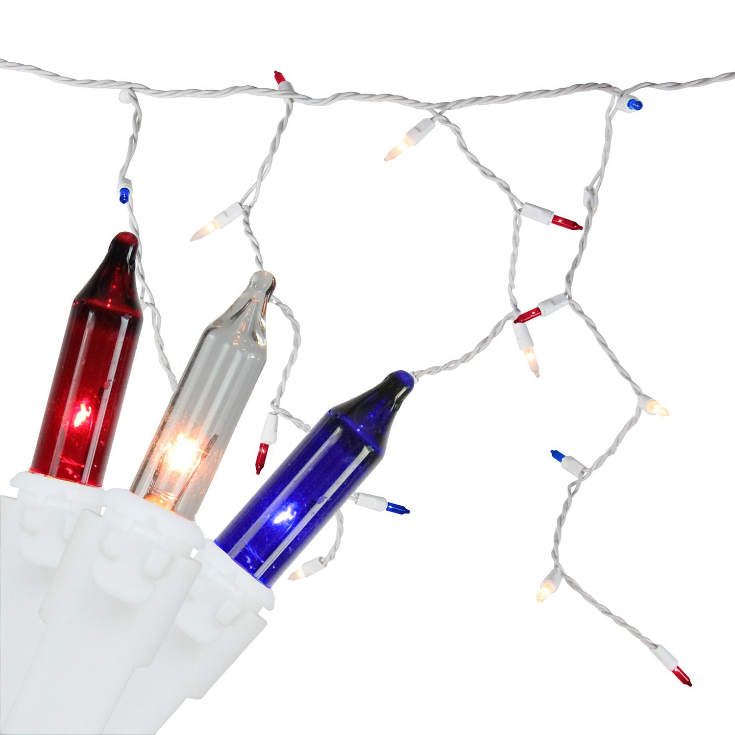 105-Count Red, White, Blue 4th of July Mini Icicle Light Set, 6.5ft White Wire
