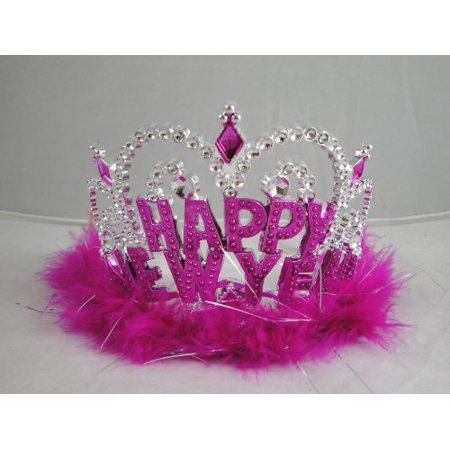 12 Happy New Year Marabou Tiaras   Assorted