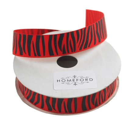 Zebra Print Grosgrain Ribbon, 7/8-Inch, 10 Yards, Red](Zebra Print Ribbon)