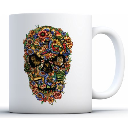 Awkward Styles Fauna Skull Coffee Mug Floral Skull Mug Day of the Dead Gifts for Coffee Lovers Sugar Skull Flowers Tea Mug Cute Skull Coffee Cup Floral Sugar Skull Travel Mug Dia de los Muertos Gifts (Cute Cups)