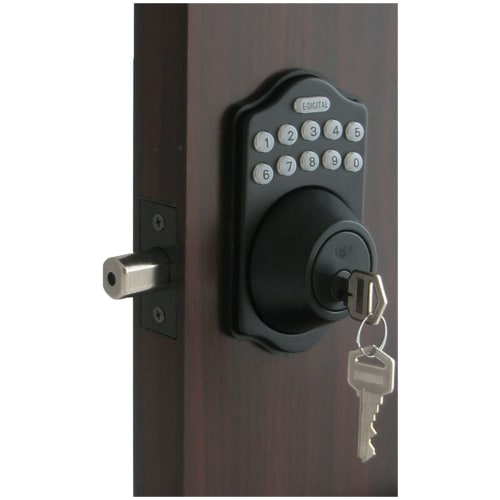 Lockey E-910 R Electronic Keypad Single Cylinder Deadbolt, Remote Control Capable, 6 User Codes and LED Illumination from the E-DIGITAL Series