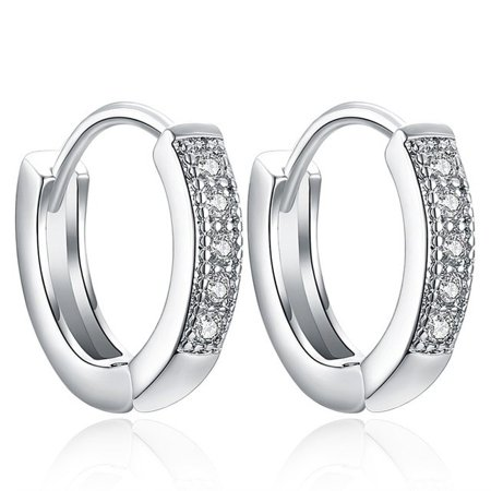 925 Sterling Silver Cz Huggies Hoop Clip Huggie Earrings ()