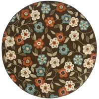 """Style Haven StyleHaven Floral Brown/Ivory Indoor-Outdoor Area Rug (7'10 Round) - 7'10"""" Round"""