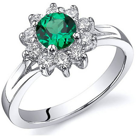 0.50 Carat Created Emerald Rhodium-Plated Sterling Silver Engagement Ring