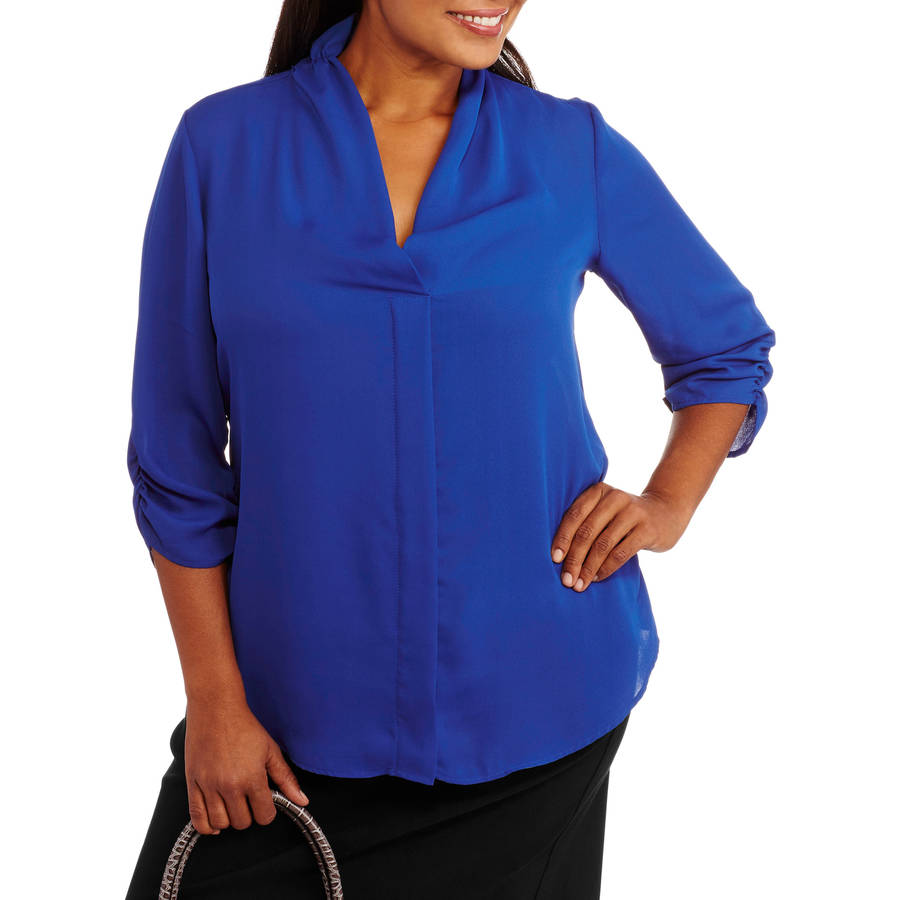 Glamour and Co. Women's Plus-Size Casual Chiffon Blouse