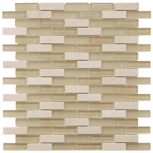 EliteTile Sierra 11-3/4'' x 11-3/4'' Polished Glass and Stone Subway Mosaic in Sandstone