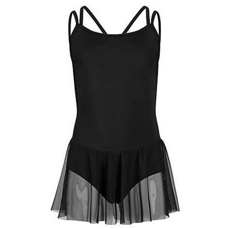 Capezio Girls Carefree Camisole Dress, Black, Medium Kids (Capezio Dress)