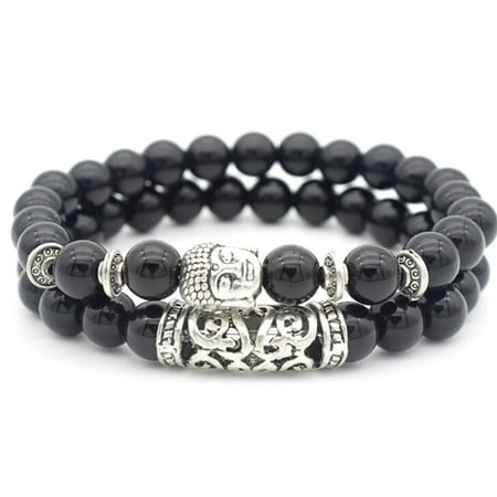 Fancyleo Unisex Vintage Buddha Beaded Bracelet Buddha Head Stone Beads Bracelet Women Men Jewelry Gifts