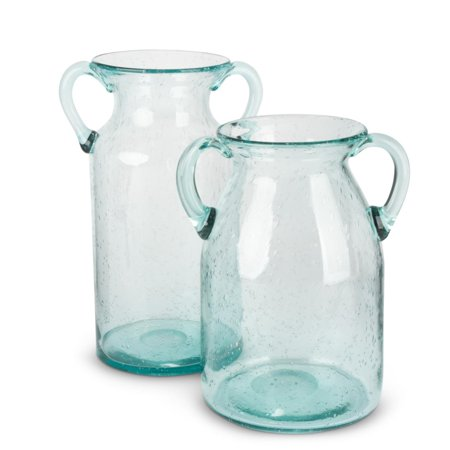 Set of 2 Aqua Blue Transparent Bubble Glass Milk Jug Styled Vases with Handle - Bubbles Glasses For Sale