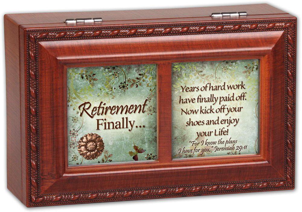 Cottage Garden Retirement Finally Woodgrain Petite Music Box   Jewelry Box Plays Amazing Grace by