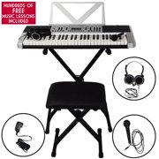 Sawtooth 54 Key Portable Piano Keyboard with Stand, Bench, Headphones, Microphone, Adapter, 50 Preset Songs, 160 sounds,  Built in Metronome & Free Music Lessons