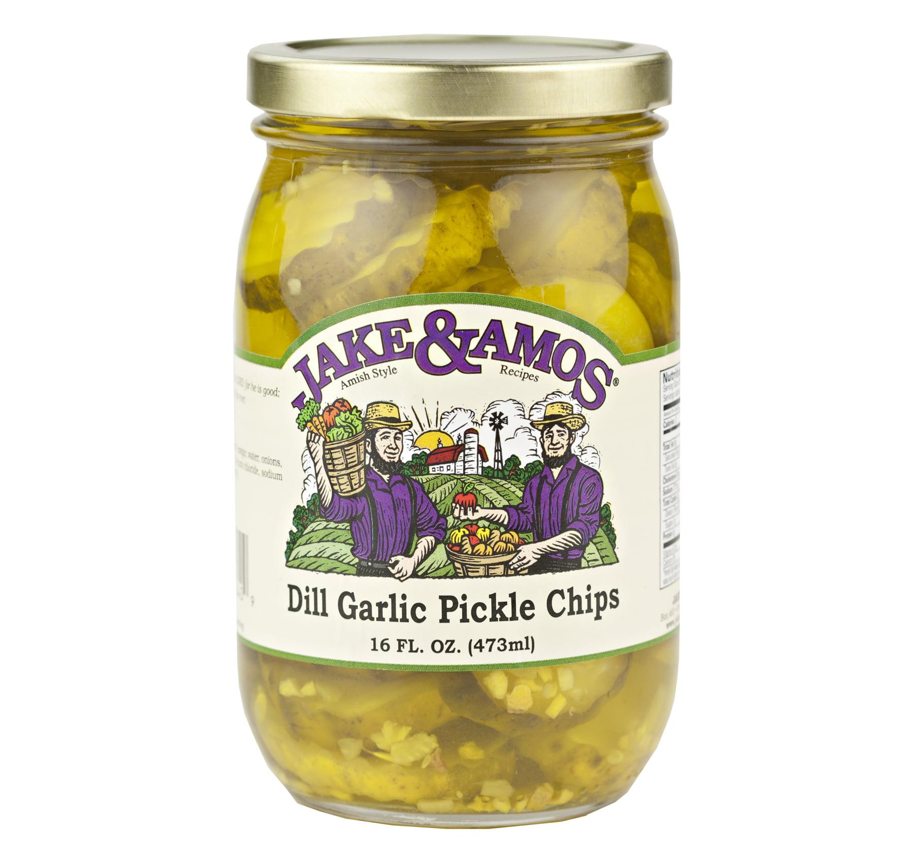 Jake & Amos Dill Garlic Pickle Chips 16 oz. Jar (2 Jars)