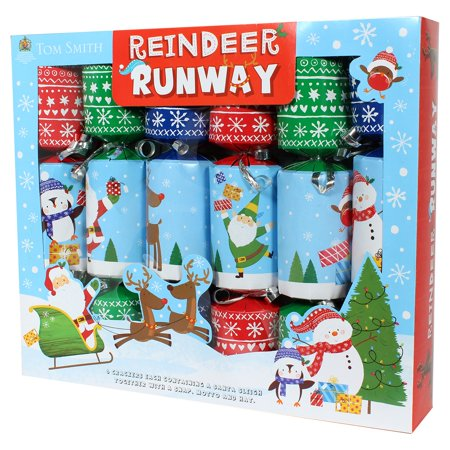 Tom Smith Fun Family Christmas Crackers-Novelty Reindeer Runway Game 12pack ()