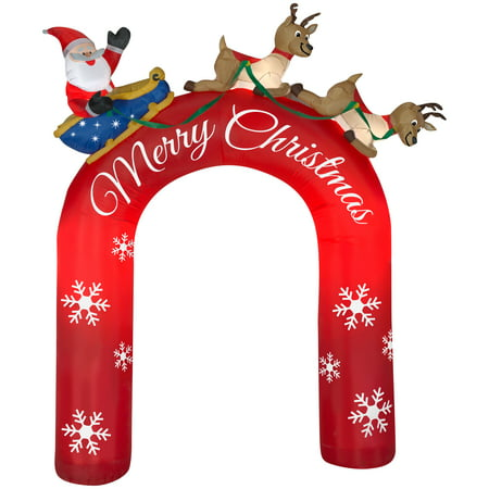 Airblown Inflatable Archway Santa In Sleigh With Flying Reindeers 9Ft Tall By Gemmy Industries