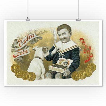 Extra Cigars - Extra Fein Primero Brand Cigar Box Label (9x12 Art Print, Wall Decor Travel Poster)