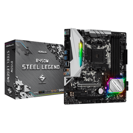 ASRock B450M Steel Legend AM4 AMD Promontory B450 SATA 6Gb/s USB 3.1 HDMI Micro ATX AMD (Best Motherboard For Amd Fx 9590)