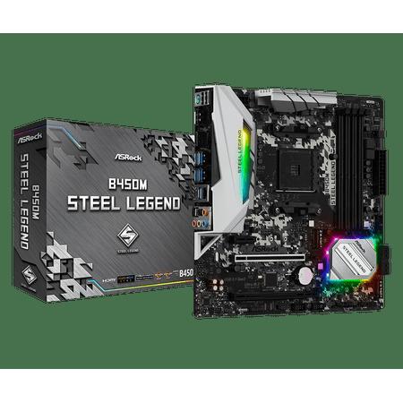 ASRock B450M Steel Legend AM4 AMD Promontory B450 SATA 6Gb/s USB 3.1 HDMI Micro ATX AMD Motherboard