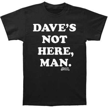 Cheech & Chong Men's  Dave's Not Here T-shirt Black (Cheech Mustache)