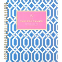 """Simplified for AT-A-GLANCE Academic Weekly/Monthly Planner, July Start, 7 1/2"""" x 9"""", Blue Trellis (ELW20-805A-21)"""