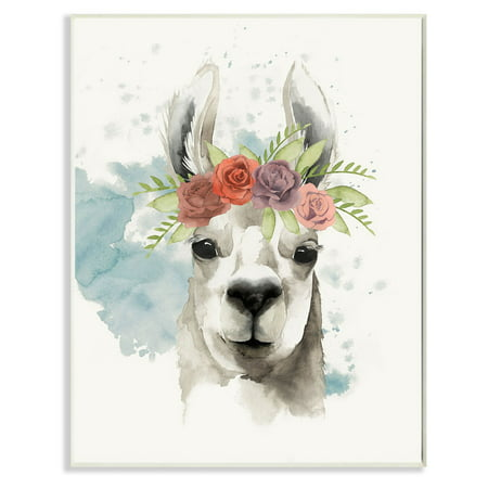 Del Rey Wall (The Stupell Home Decor Collection Watercolor Llama Del Rey Wall Plaque Art )