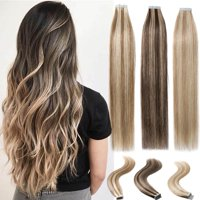 "S-noilite 16""-24"" Tape In Real Human Hair Extensions Straight Full Head Thick 20pcs/pack light brown & bleach blonde-16"",50g"