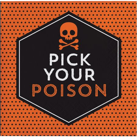 Pick Your Poison Halloween Beverage Napkins, 16 pack - Halloween Poison Labels