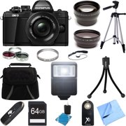 Olympus OM-D E-M10 Mark II Mirrorless Digital Camera Lens Bundle includes Body, 14-42mm Lens, 37mm Filter Kit, 64GB Memory Card, Tripod, Mini Tripod, Bag, Flash, Cleaner, Beach Camera Cloth and More