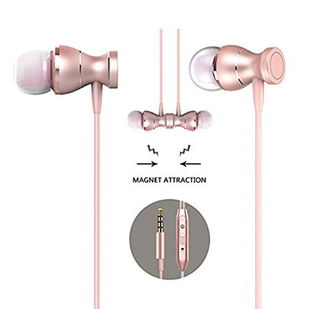 ZHIKE In-Ear Earbuds Earphones Headphones,3.5mm Metal Housing Magnetic Best Wired Bass Stereo Headset Built-in Mic for Samsung Galaxy S8/S8 Plus/Android Phones/ iPhone (Rose
