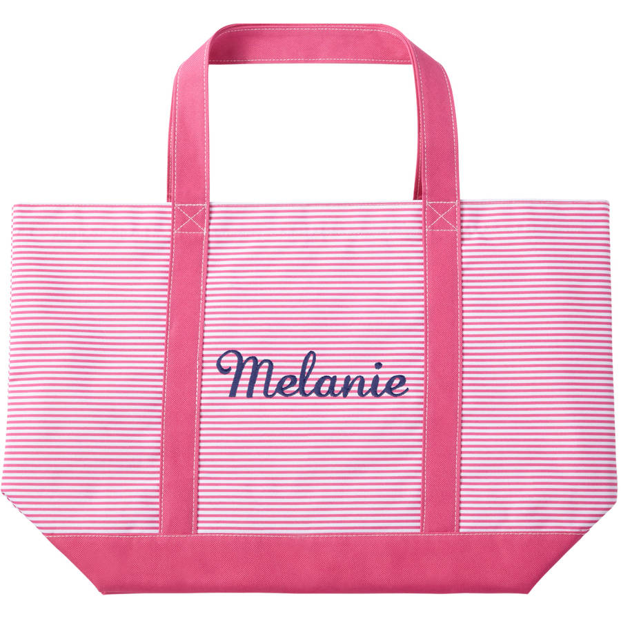 Personalized Or Monogrammed Pinstripe Pink Tote, Available In Different Fonts