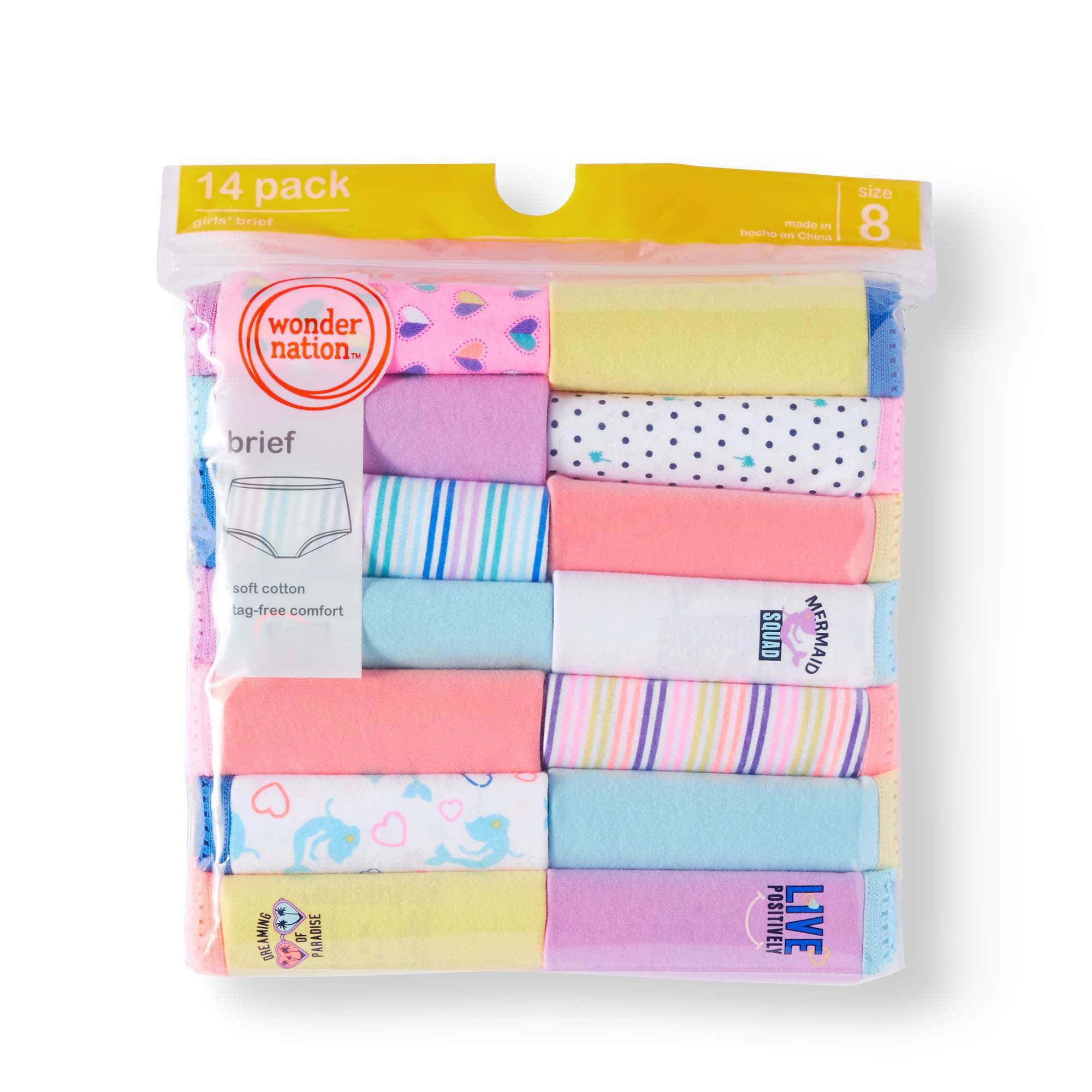 Wonder Nation Girls 100% Cotton Brief Panty, 14 pack