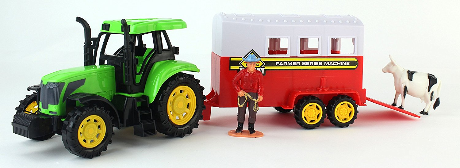 Farm World Friction Powered Green Toy Tractor Trailer Playset w. Trailer, Person Figure, &... by Velocity Toys