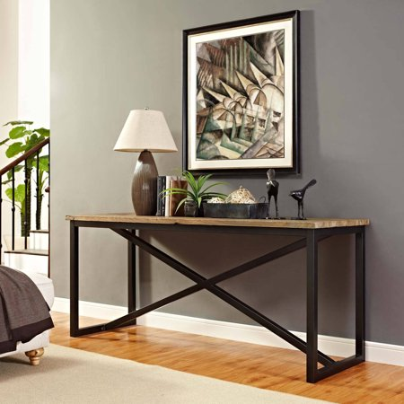 Modway Traverse Stand with Solid Pine Wood Top in Brown