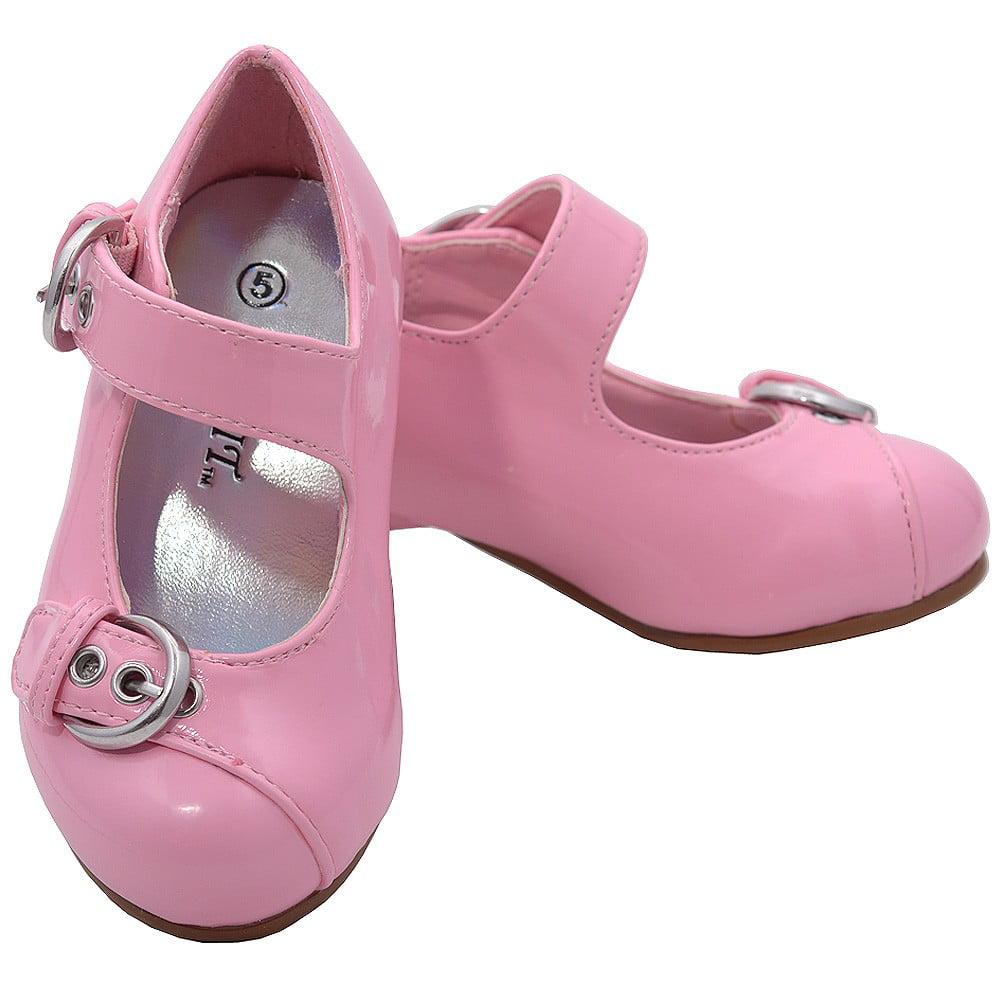 pink patent buckle kitten heel dress shoes toddler 5