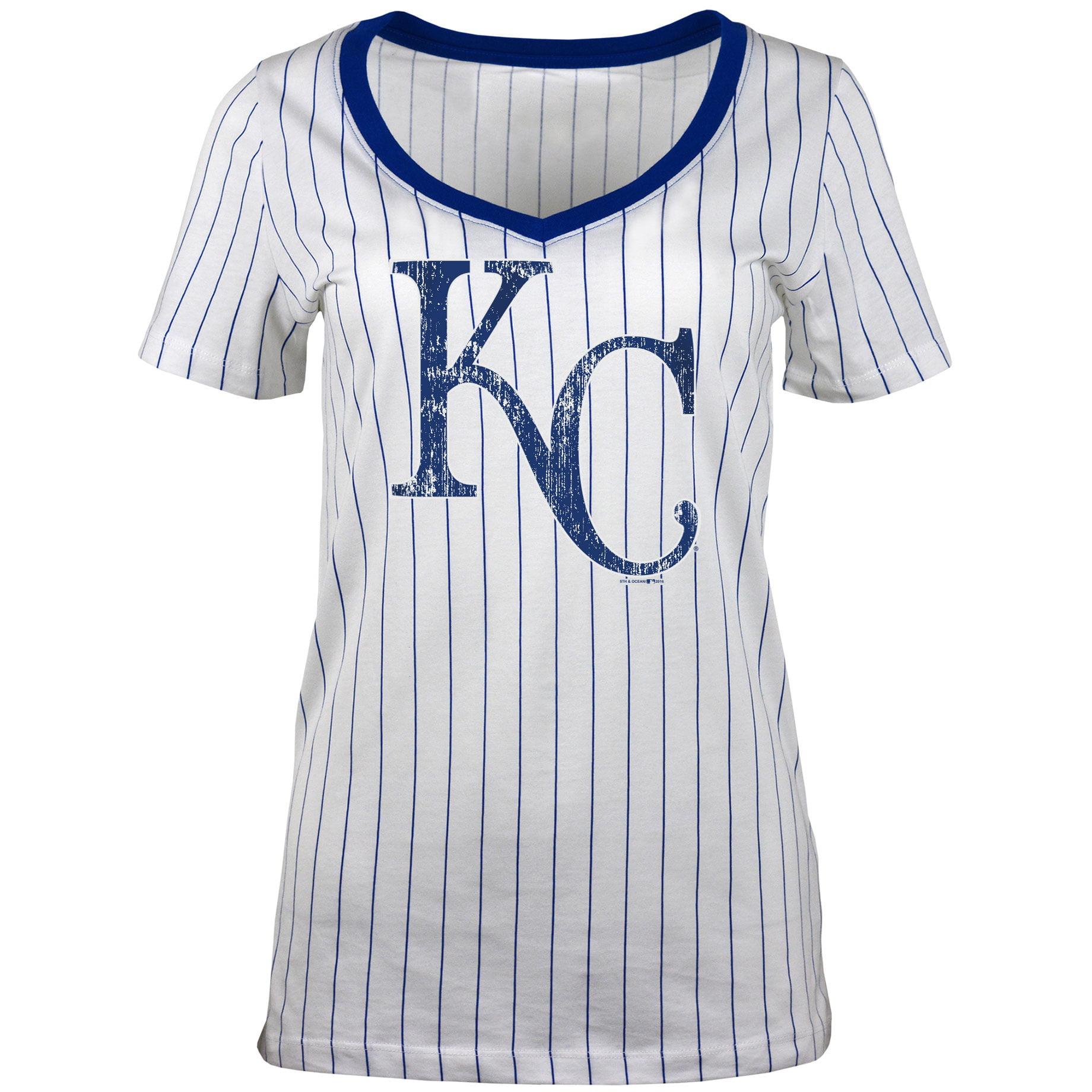 Kansas City Royals 5th & Ocean by New Era Women's Baby Jersey Pinstripe Ringer T-Shirt - White