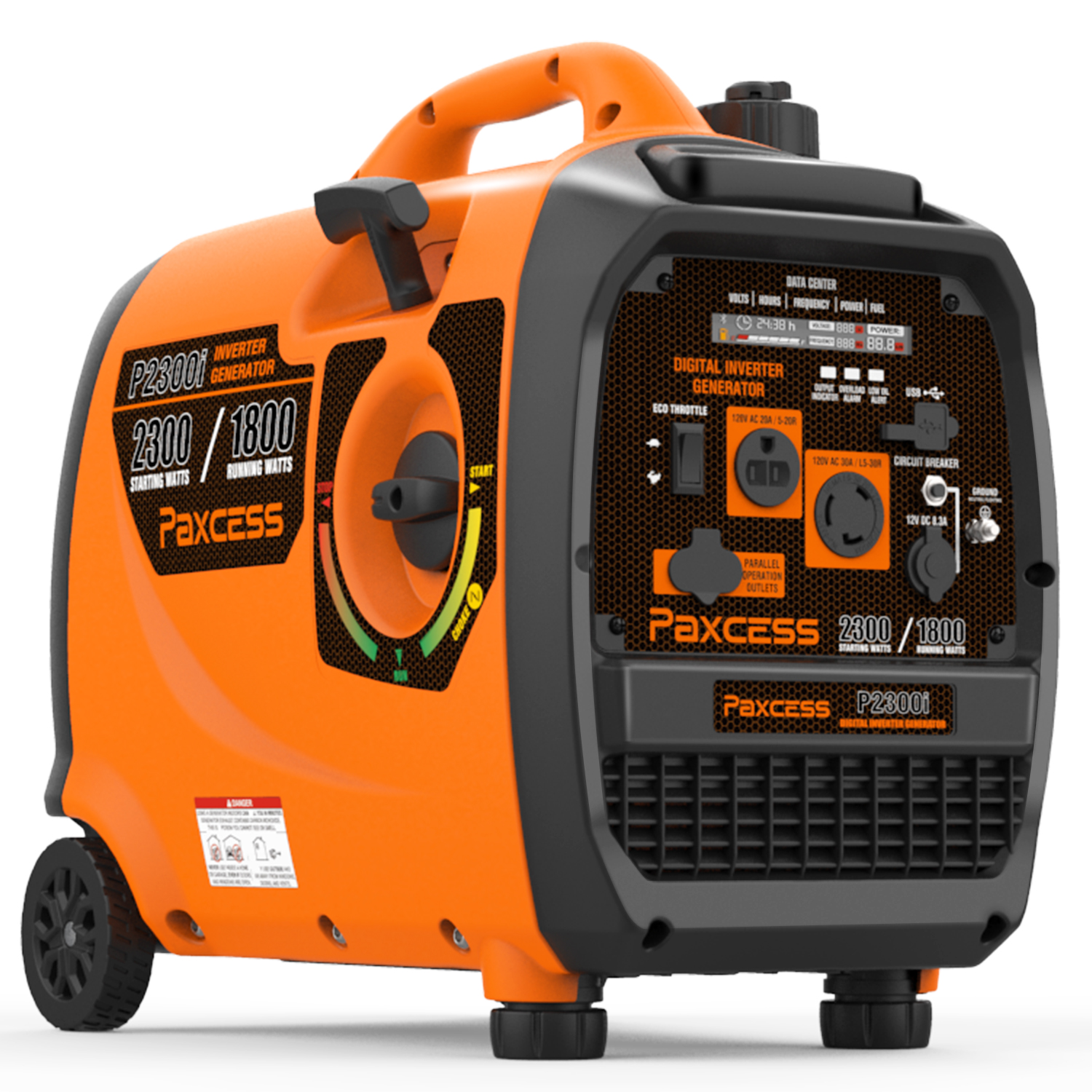 Paxcess Gasoline 2300 Watts Portable Generator Super Quiet Inverter Generator With Wheel and Handle RV /Parallel Ready Generator CARB Complaint For HOME, Camping, Travel, Emergency.