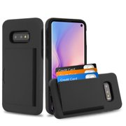 """Samsung Galaxy S10e (5.8"""") Wallet Phone Case Ultra Protective Cover with 3 Cedit Card ID Holder Slot [Slim] Heavy Duty Shockproof Hybrid Hard PC + TPU Armor BLACK Case for Samsung Galaxy S10E / S10 e"""
