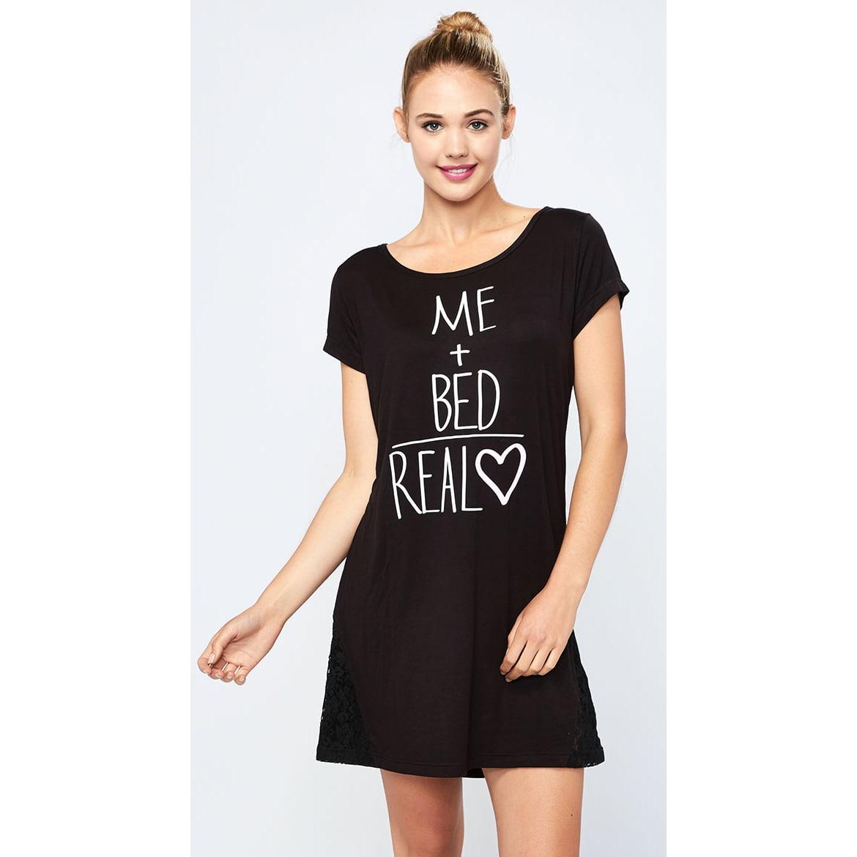Black Real Love Night Shirt