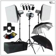 3x 300W Monolight Flash Strobe Portable Lighting Kit with Softbox, Umbrella, Stand, Radio Slave, Carry Case by Loadstone Studio WMLS0110
