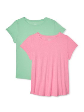 Wonder Nation Cotton Crew Neck T-Shirts, 2-Pack (Little Girls, Big Girls & Plus)